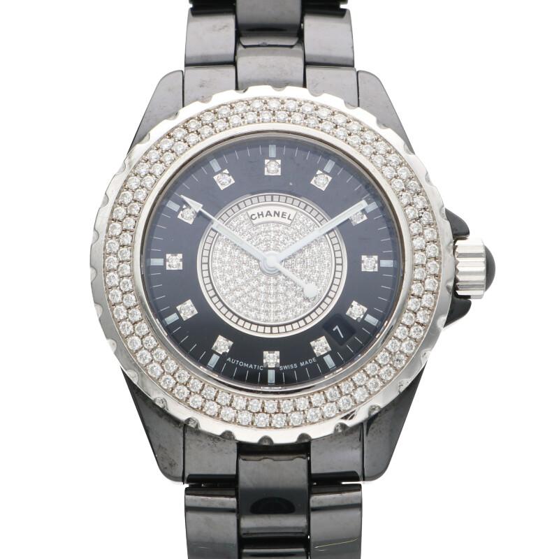 シャネル CHANEL H1757/J12 ブラックセラミック 12P/ベゼルダイヤ 自動巻き  腕時計