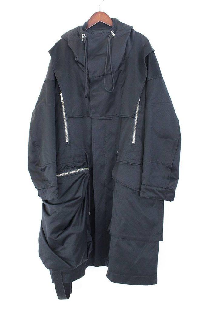 オールモストブラック ALMOSTBLACK 17AW-C002 中綿入りジップポケットミリタリーモッズコート