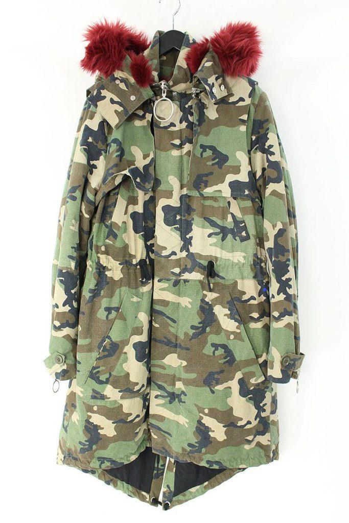 オフホワイト OFF-WHITE Camouflage Faux Fur Lined Parka ファーライナー付きフーデッドカモフラージュロングコート