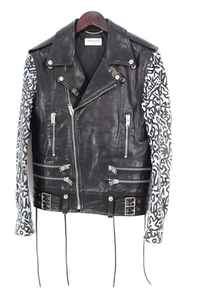 サンローランパリ SAINT LAURENT PARIS 330461/Sumi Ink Club Leather Biker Jacket 袖プリントライダースレザージャケット