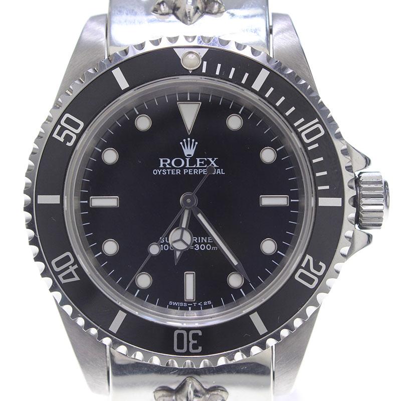 クロムハーツ Chrome Hearts × ロレックス ROLEX Ref.14060/サブマリーナノンデイト T番CHクロスクラシックリンクウォッチブレス腕時計
