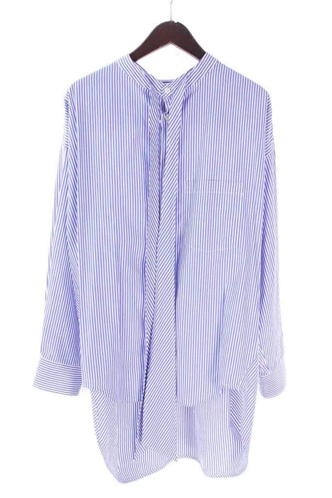 バレンシアガ BALENCIAGA 492513 TXB03 バックロゴプリントストライプオーバーサイズ長袖シャツ