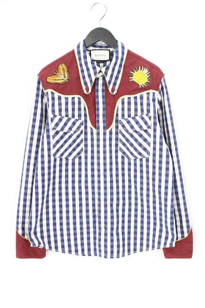 グッチ GUCCI 416774 XR132 ヨーク刺繍切替ウエスタンチェック長袖シャツ