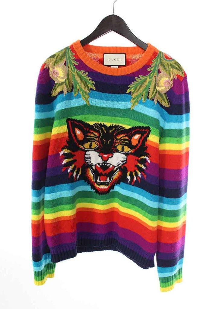 グッチ GUCCI Angry Cat Wool Jumper 474608-X9A11 アングリーキャットウールストライプニット