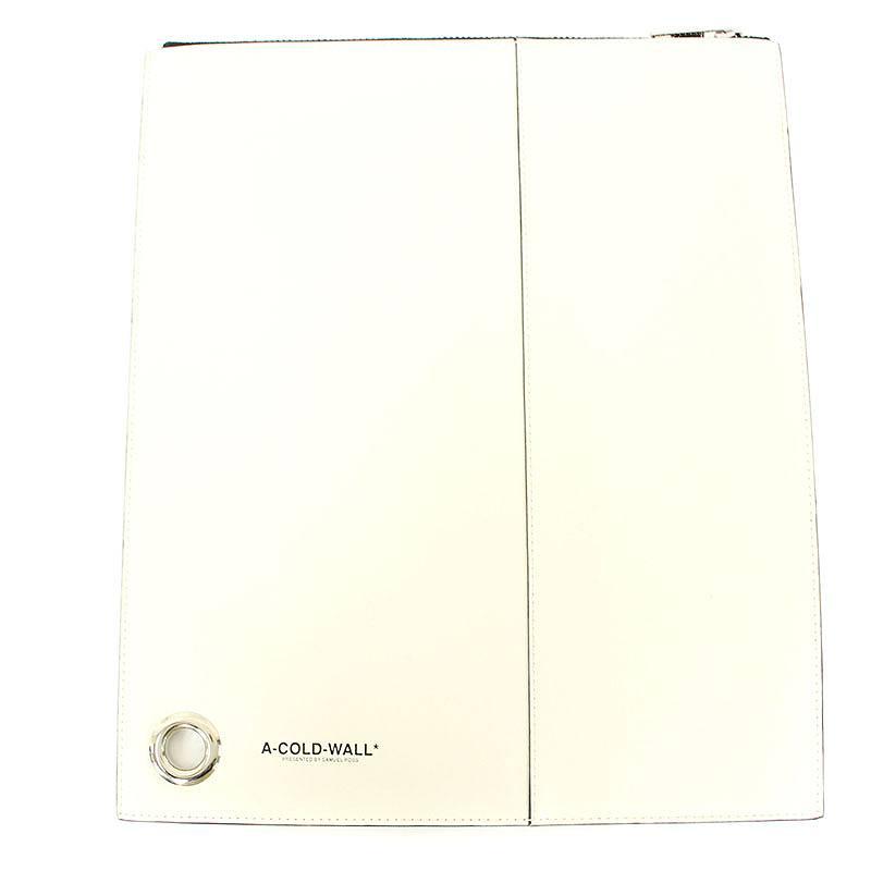 アコールドウォール A-COLD-WALL ACCESSORY ZIP POUCH 切替デザインロゴプリントレザークラッチバッグ