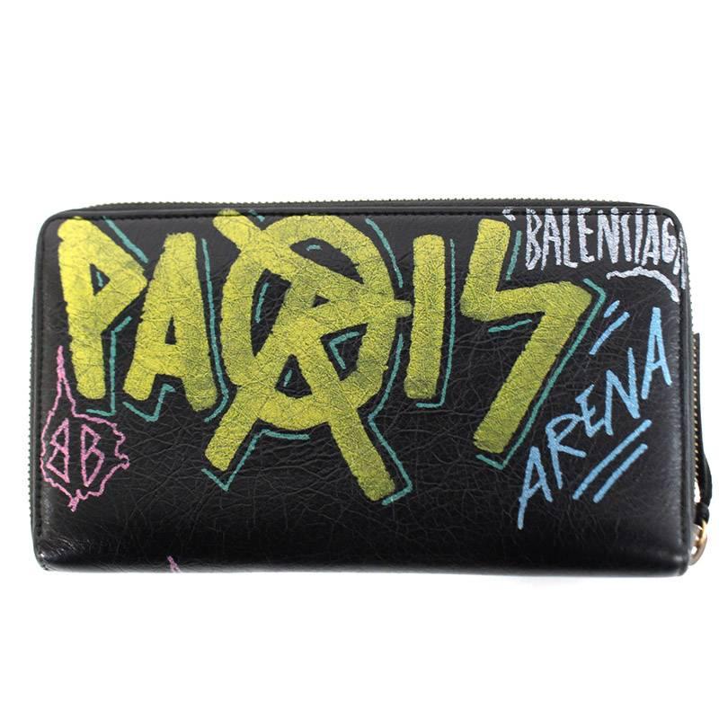 バレンシアガ BALENCIAGA 253036 ペイントデザインラウンドジップレザーロング財布