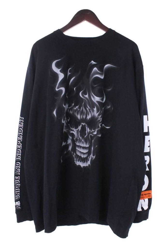 ヘロンプレストン HERON PRESTON B&W Skull LS T-Shirt HMAB002F18600022 ファイヤースカルプリント長袖カットソー