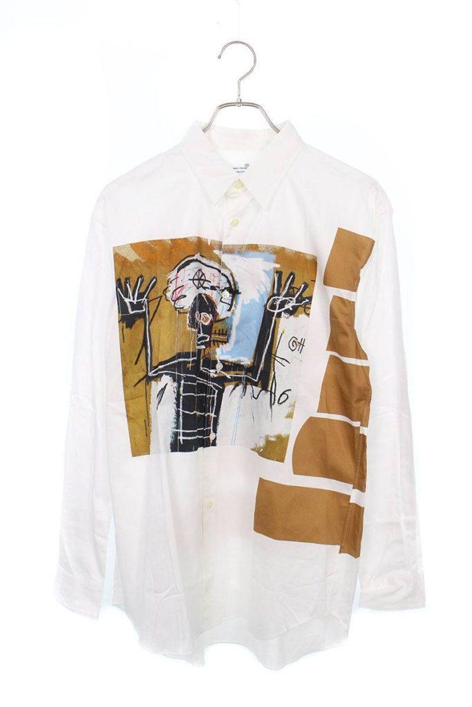 コムデギャルソンシャツ COMME des GARCONS SHIRT W26041 bis ×バスキアフロントアートプリント長袖シャツ