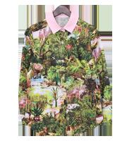 ジャングル風景総柄シャツ