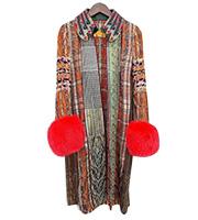 袖ファー付き ツイードコート