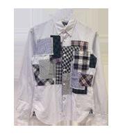2014AW チェック柄パッチワークシャツ