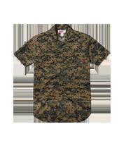 ×シュプリーム ドット×迷彩柄半袖シャツ