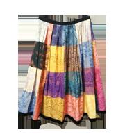 2014AW マルチカラー パッチワークプリーツスカート