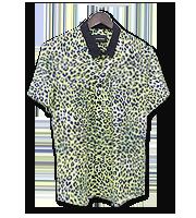 ラペルカラー豹柄半袖シャツ