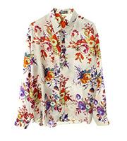 ×カウズ Bee刺繍 フラワーシルク長袖シャツ
