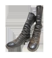 バックジップレザーロング―ブーツ