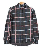 シルクチェック柄ロングスリーブシャツ