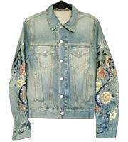 袖刺繍デニムジャケット