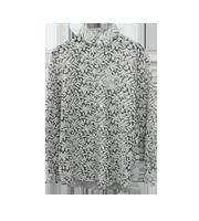 ウール刺繍シースルー ロングスリーブシャツ