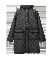 ファーフードキルティング 中綿ロング丈コート
