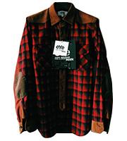 x ジュンヤワタナベ 袖レザーパッチ長袖シャツ