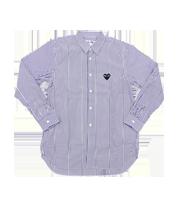 ロゴハートパッチストライプ柄シャツ