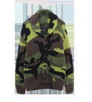 ビッグカモ迷彩柄ショールカラー カウチンニットセーター