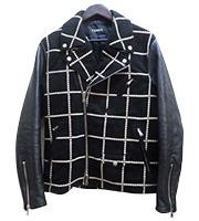 レザー切り替え刺繍 ライダースジャケット