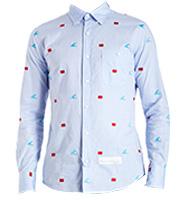 フラッグ刺繍ボタンダウンシャツ