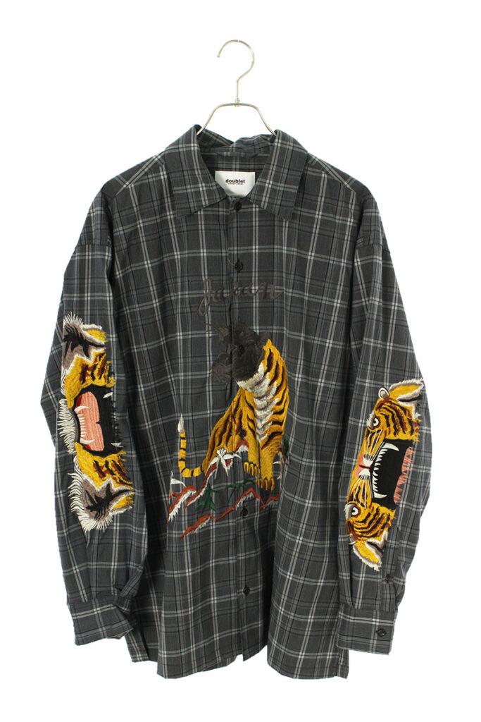 ダブレット doublet 20SS15SH72 タイガーエンブロイダリーデザインチェック長袖シャツ