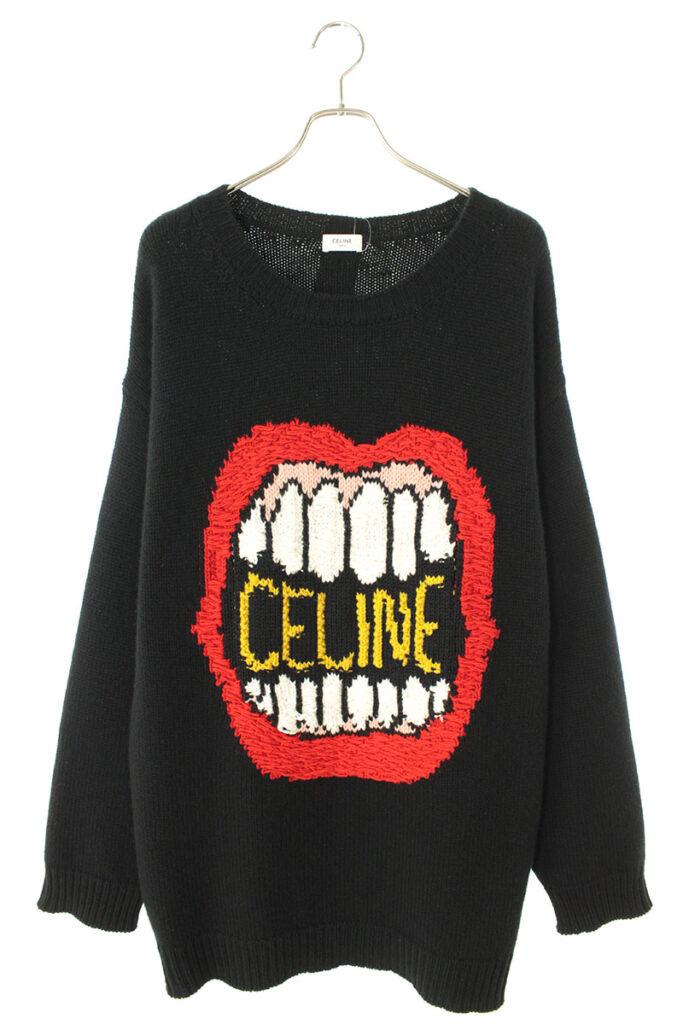 セリーヌバイエディスリマン CELINE by Hedi Slimane 2A04L714M マウスロゴ刺繍ルーズクルーネックセーターニット