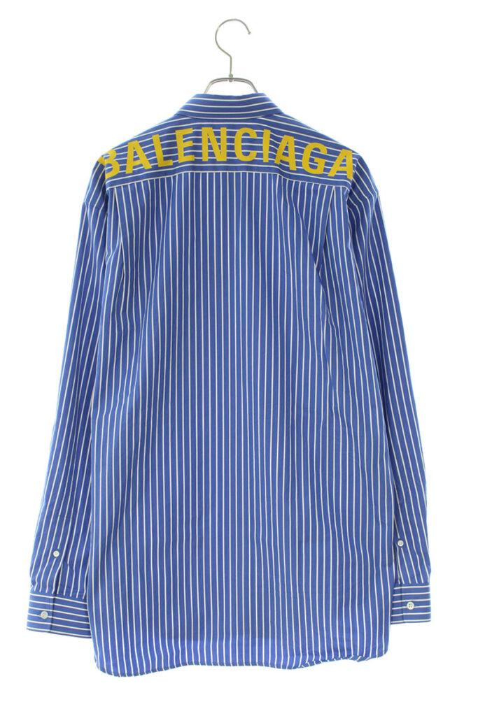 バレンシアガ BALENCIAGA 556878 TDM08 バックロゴプリントストライプオーバーサイズ長袖シャツ