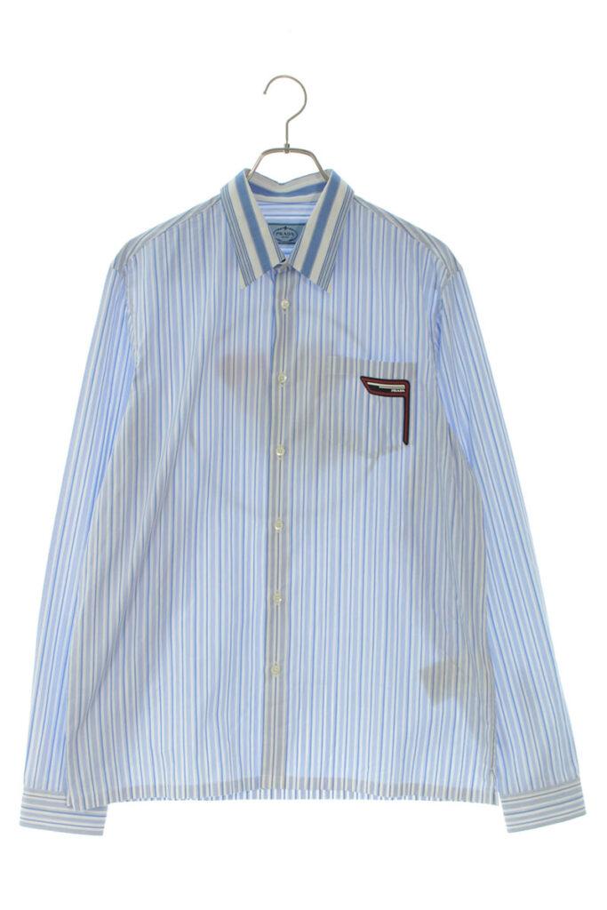プラダ PRADA UCN123 ストライプ柄バックロゴ長袖シャツ