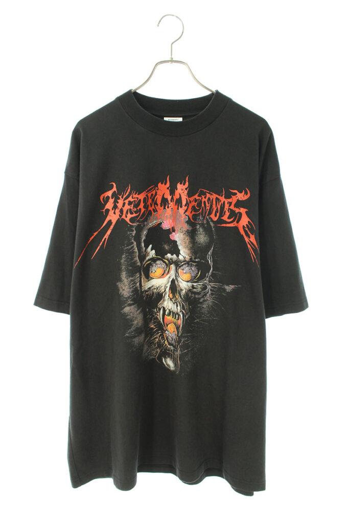 ヴェトモン VETEMENTS OVERSIZED HEAVY METAL PRINT TEE MAH18TR34 オーバーサイズヘビーメタルスカルプリントTシャツ