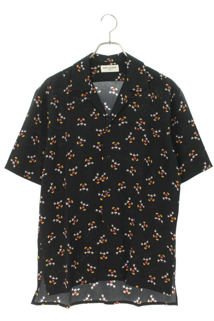 サンローランパリ SAINT LAURENT PARIS 531956 Y362T ミッキーマウス総柄シルク半袖シャツ