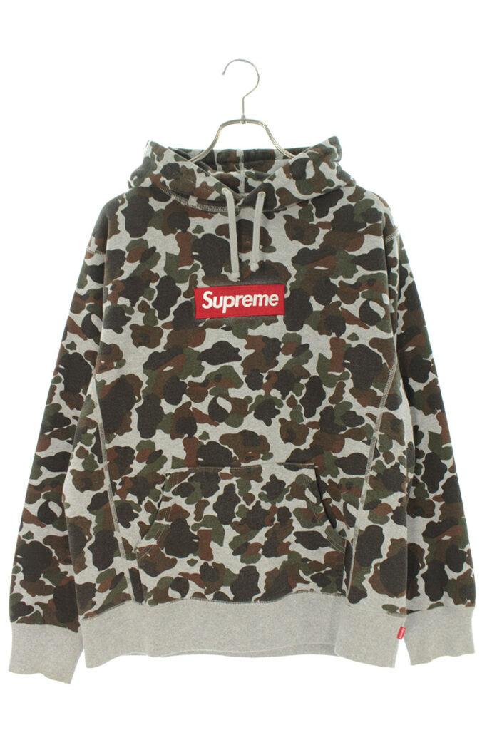 シュプリーム Supreme Box Logo Pullover ボックスロゴカモフラ柄プルオーバーパーカー
